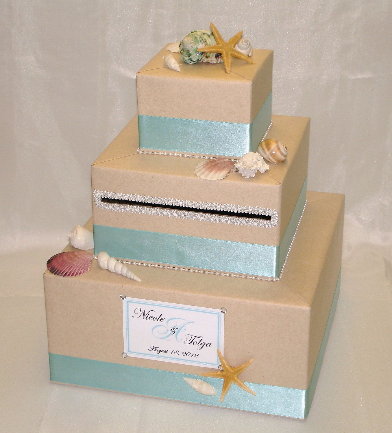 Elegant Custom Made Wedding Card Box Beach Theme 7500 Via Etsy