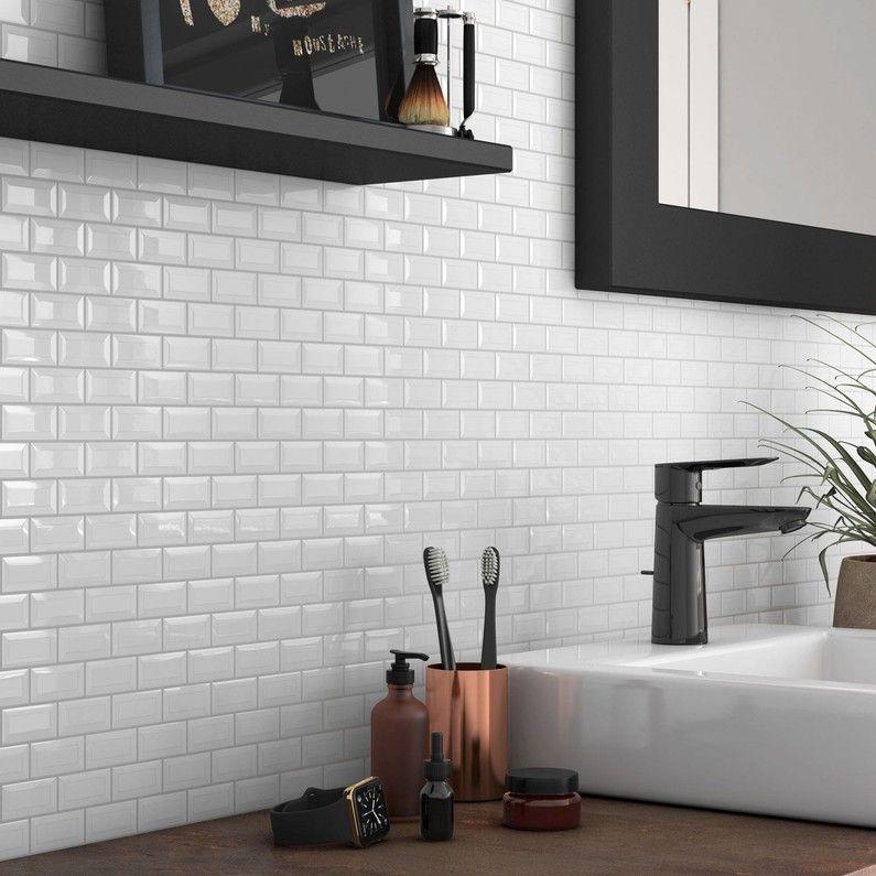 Mosaique Mur Mini Metro Blanc 4 8 X 2 3 Cm Leroy Merlin