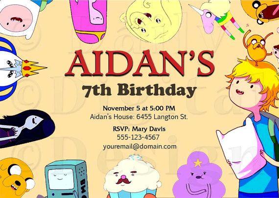 Custom Adventure Time Party Invitation By Dailydigitaldesigns