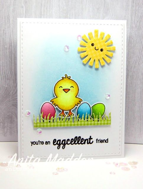 Sunny Studio Stamps A Good Egg Easter Card by Anita Madden – Easter Stamps Card Making
