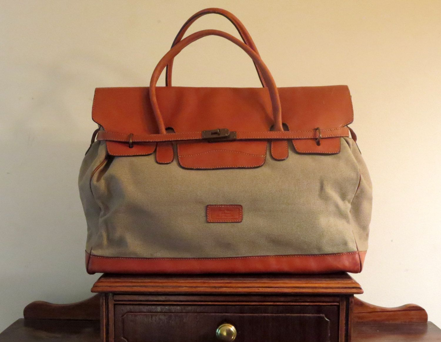 Louis Chéné Canvas With Leather Trim Duffel Bag- Made In Paris- VGC by  ProVintageGear on Etsy 508e48115f