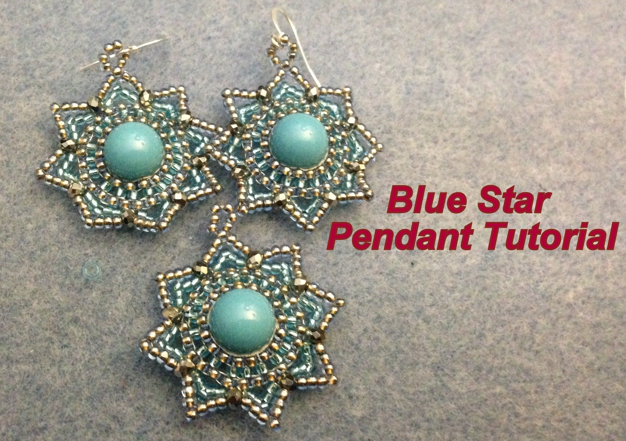 Video: Blue Star Pendant--Intermediate #Seed #Bead #Tutorias - flotte ørenringe i stjerneform - turkis-sølv-klar