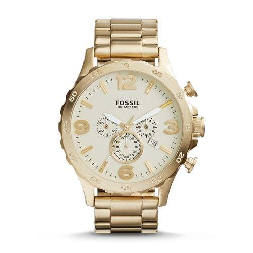 Fossil Nate Chronograph Stainless Steel Watch Gold Tone Jr1479 Uhren Herren Fossil Uhren Goldene Armbanduhr
