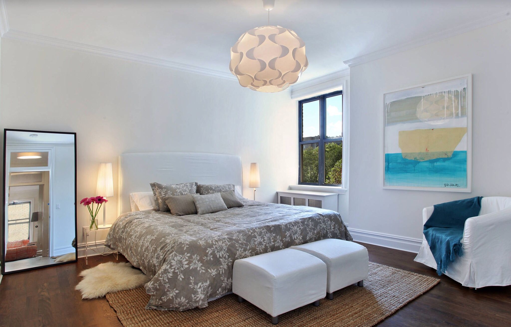 modern bedroom ideas with floating bed and underbed LED lighting