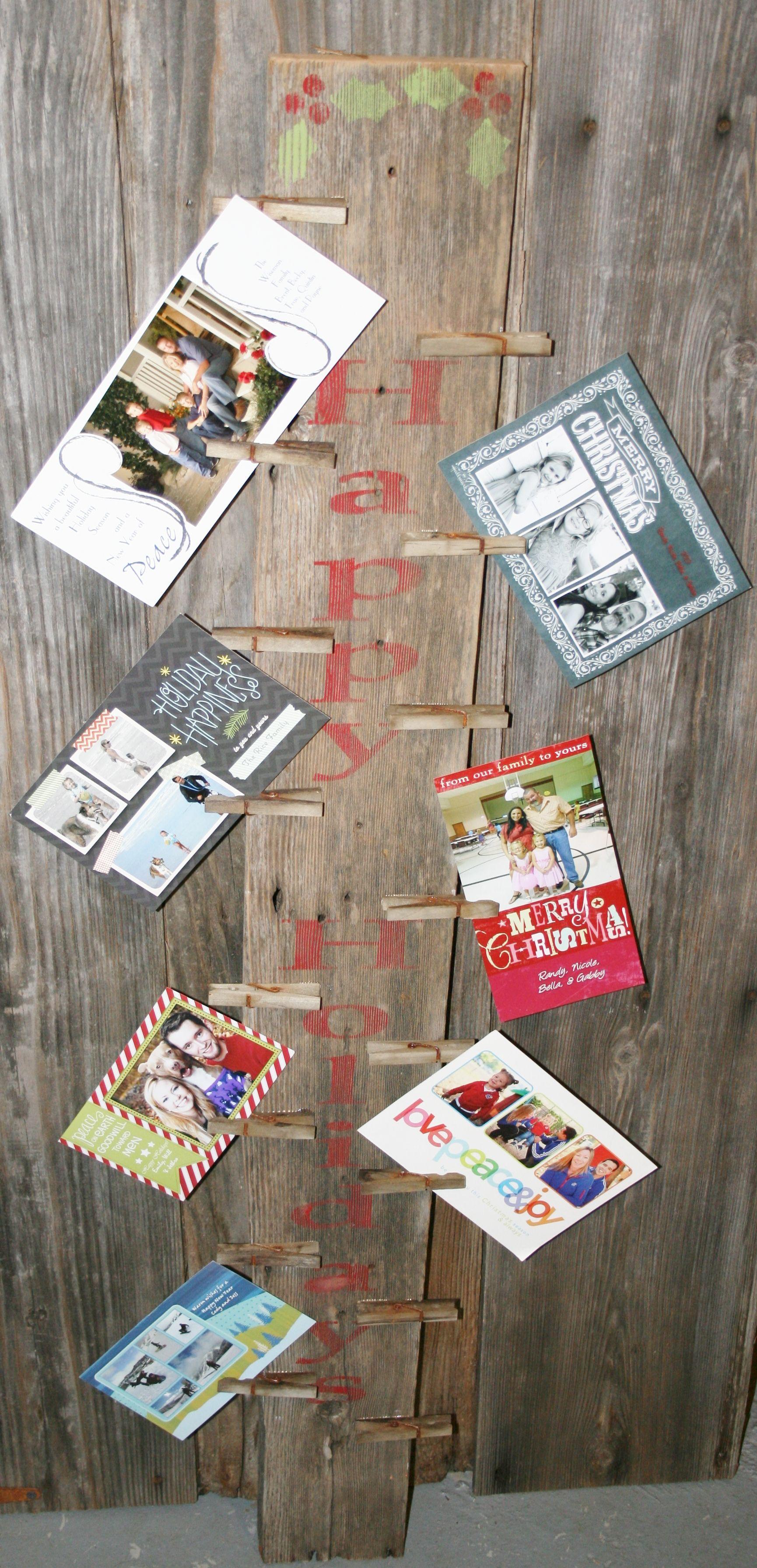 Barn wood happy holidays christmas card display