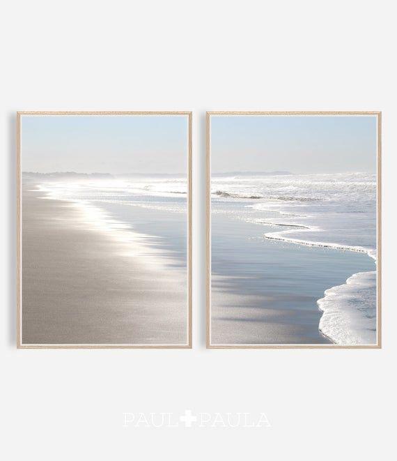 Beach Photography, Ocean Print, Printable Wall Art, Coastal Decor, Digital Download, Sea Water Ocean, Pastel Silver and Blue, Beach Coastal