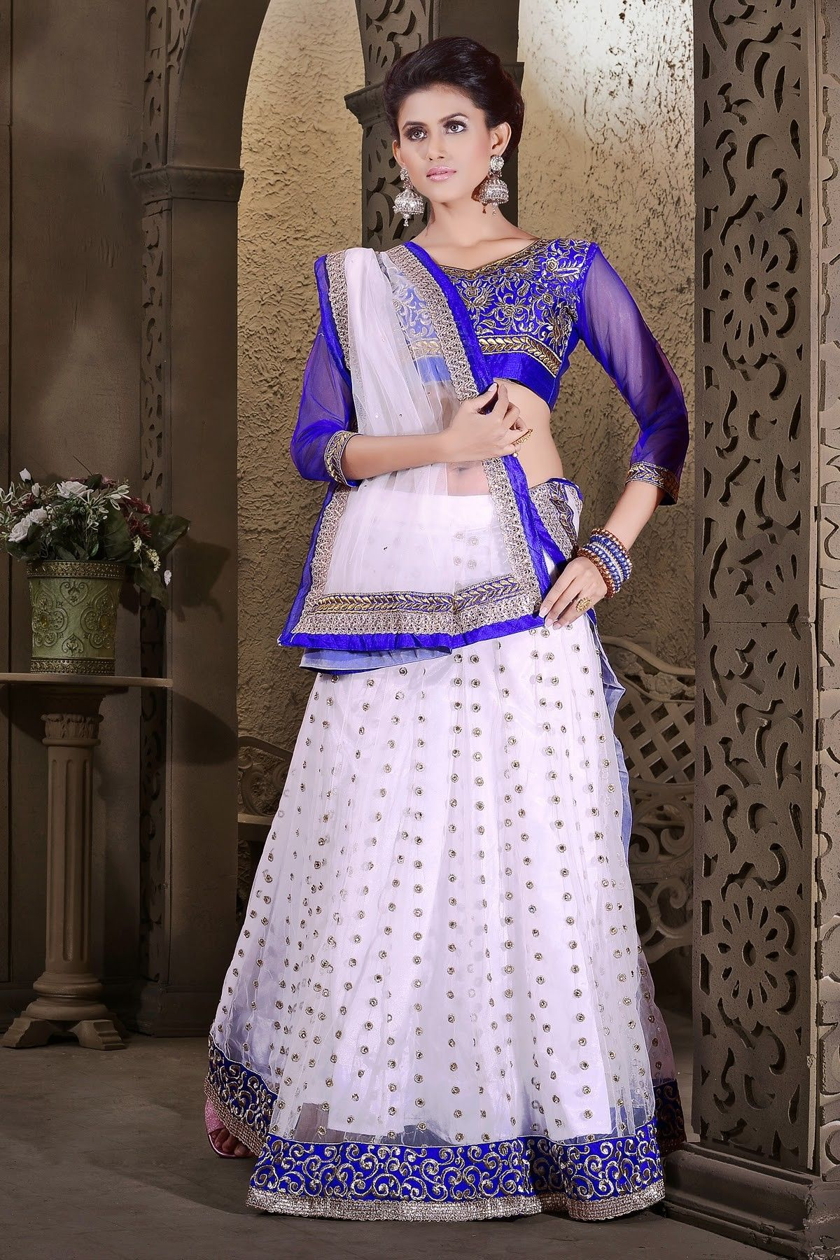 df700fe50a8 Buy online shopping lehenga choli at - India. Charming Off White Net Party  Wear ...