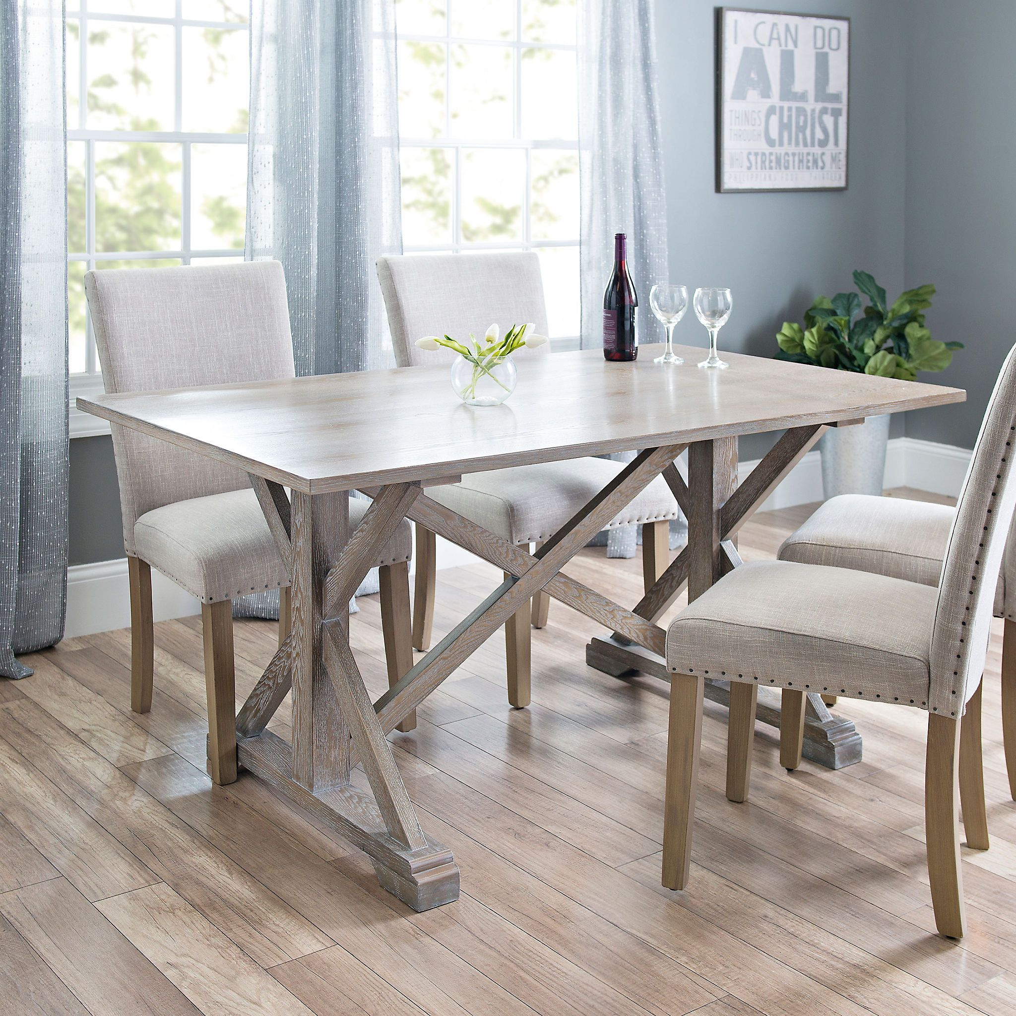 Annalise Distressed Gray Oak Dining Table Grey Dining Tables