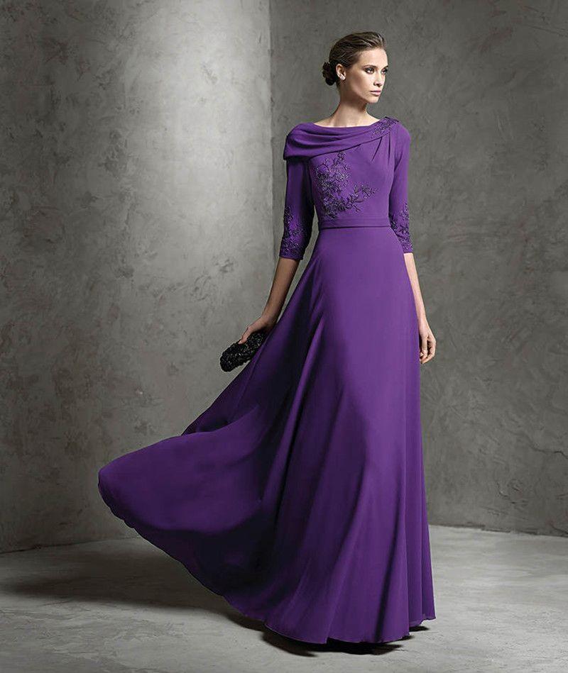 Novo bordado 3/4 manga A linha noite / vestido Formal roxo festa de ...
