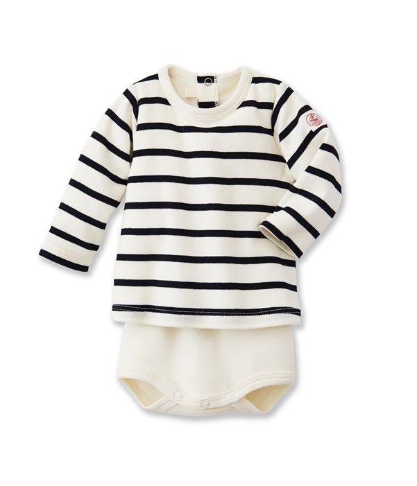 2 en 1 body T-shirt bébé mixte à rayure marinière a0ccb57b57f