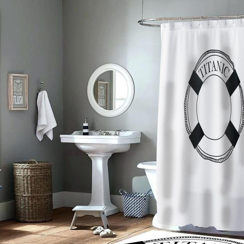 White Shower Curtain Matching Mat Set Titanic Etsy White