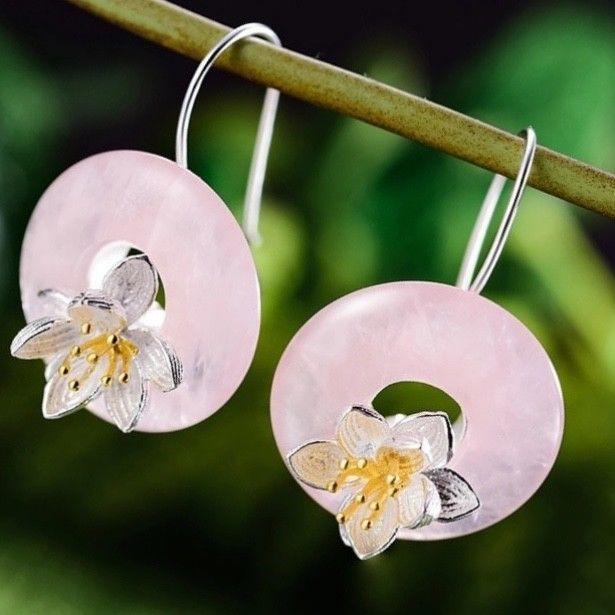 Uk 925 Sterling Silver 3d Lotus Flower Dangle Earring Jewelry