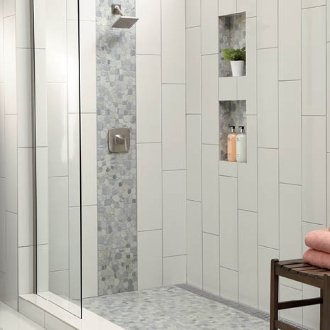 Shower With 8x24 Tile And Accent Mosaic In 2020 Bathroom Remodel Designs Bathroom Remodel Master Bathroom Shower Tile