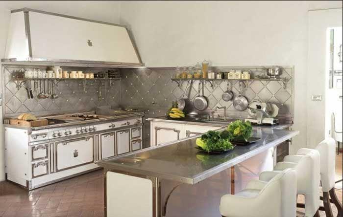 Küchenrückwand edelstahl optik und mit edelstahl arbeitsplatten und ...