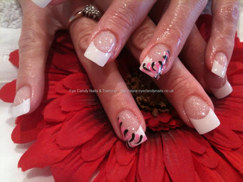 White tips with nail art- nice and simple | Nails | Pinterest | Gel ...
