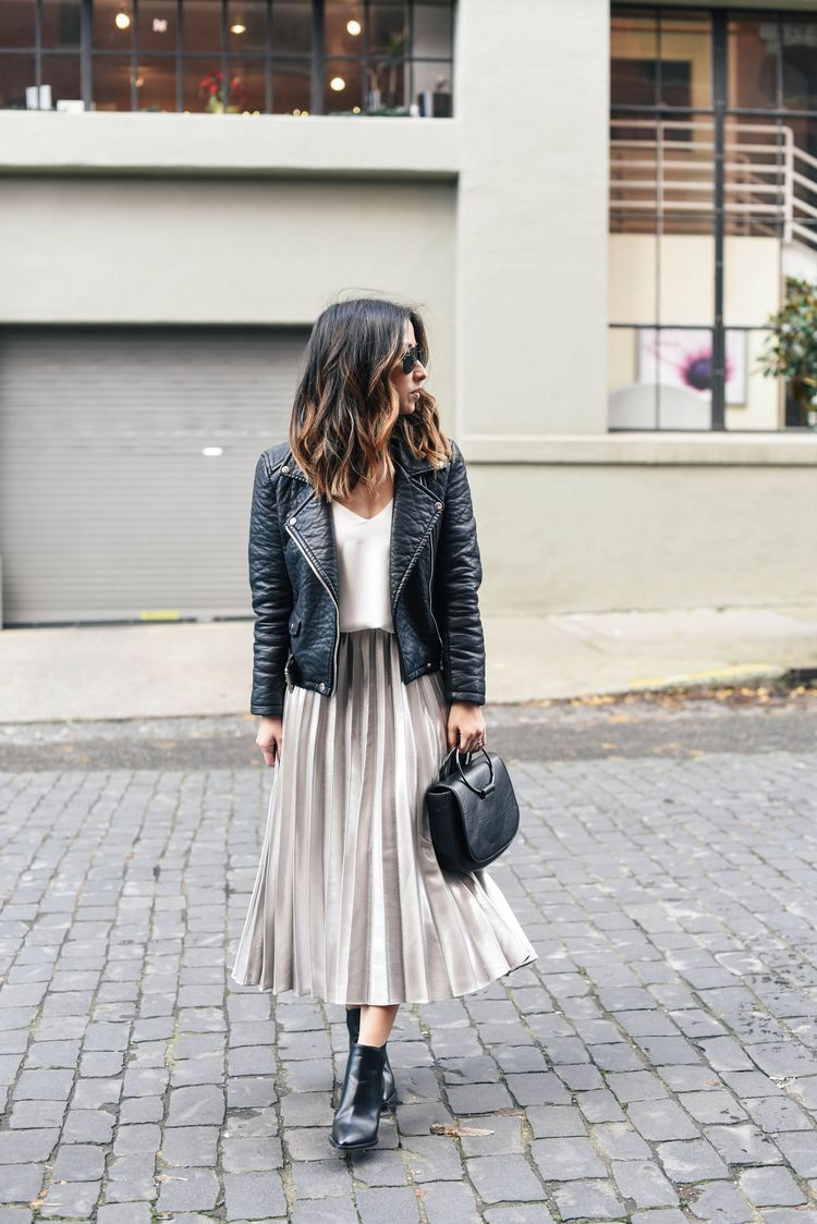 Holiday Dressing: Pleated Midi Skirt 13 Ways  Casual skirt outfits