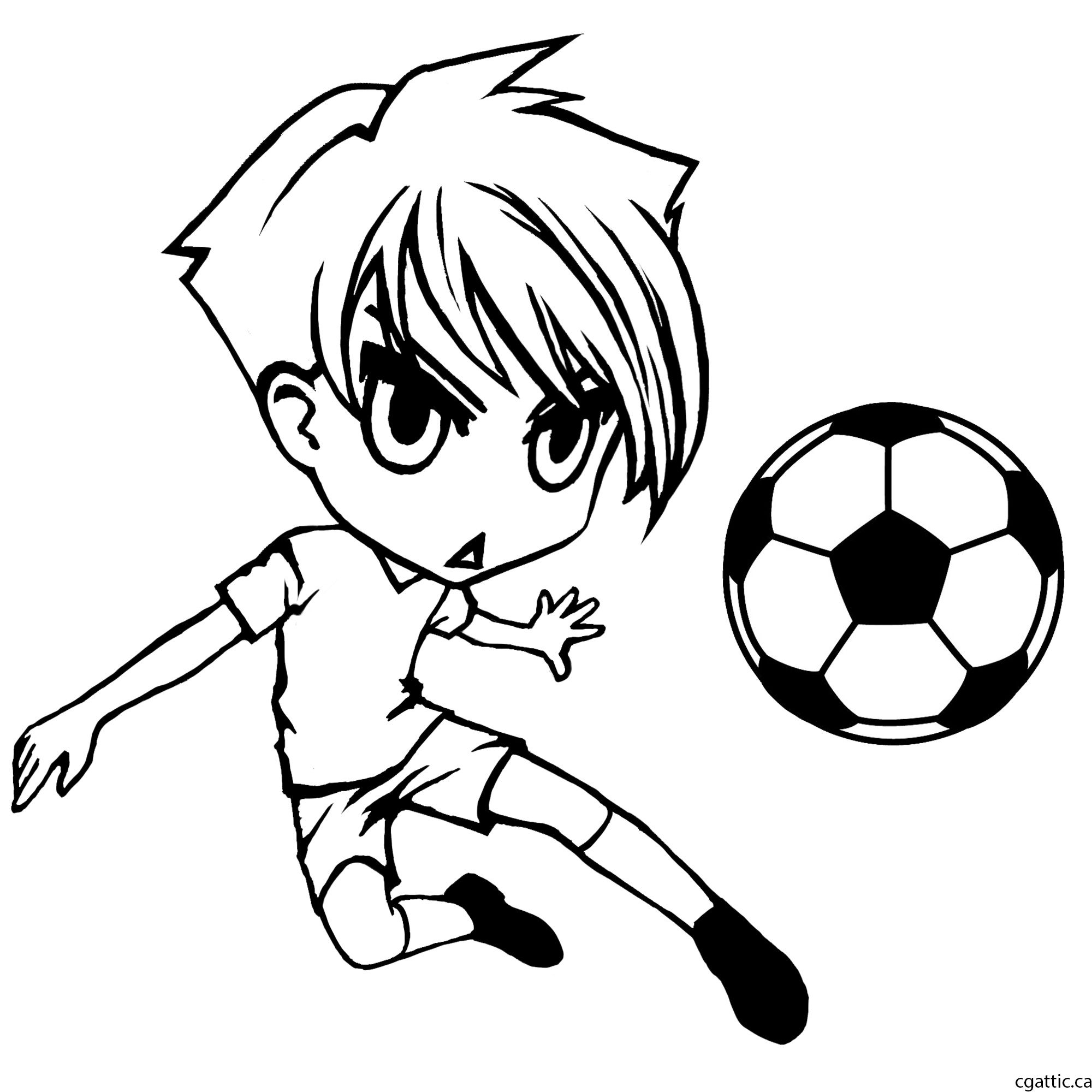 Cartoon soccer player step 2 clean up the sketch to form a nice line drawing