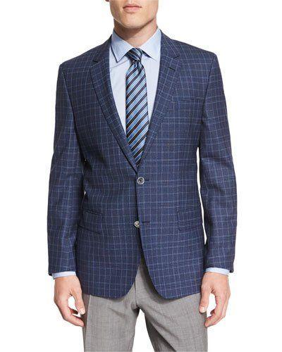 Hutsons Plaid Slim-Fit Wool Sport Coat, Blue