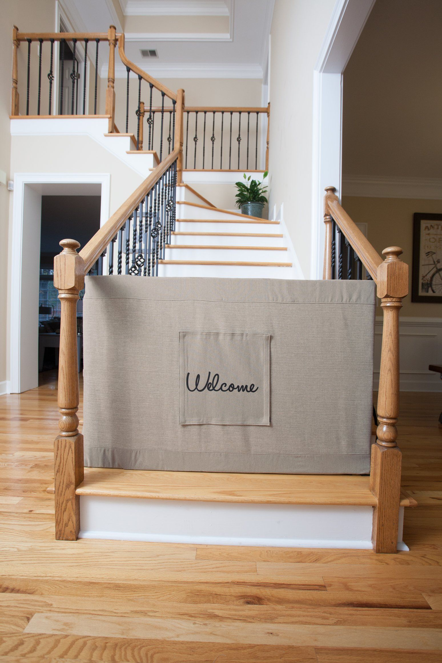 Banister to banister stair barriers w personalization