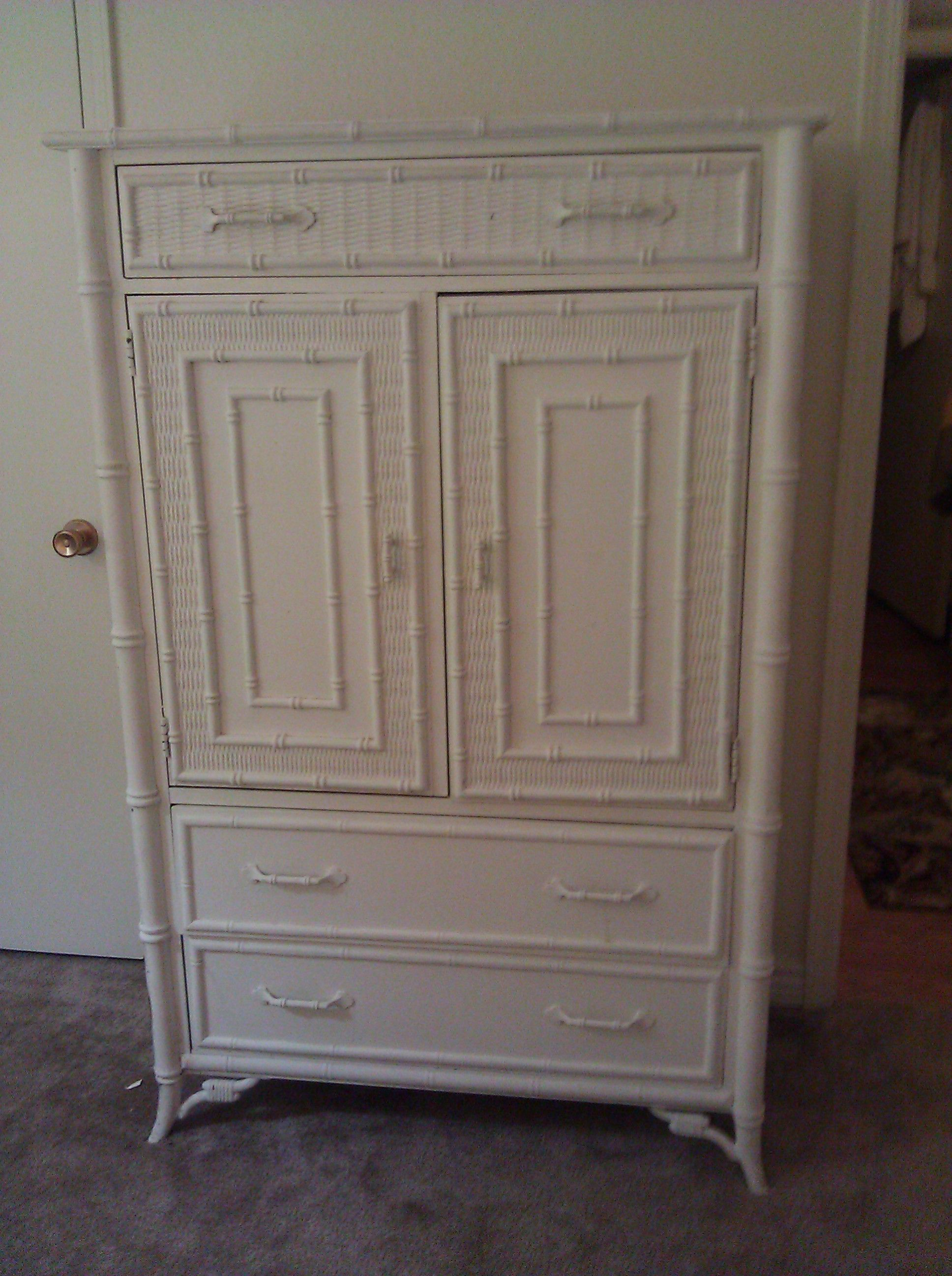 stanley furniture faux bamboo armoire scored on craigslist and found the entire bedroom set. Black Bedroom Furniture Sets. Home Design Ideas