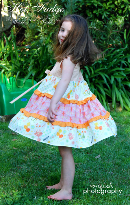 Tiered Party Dress, Liesel, Sizes 2, 3, 4, 5, made to order