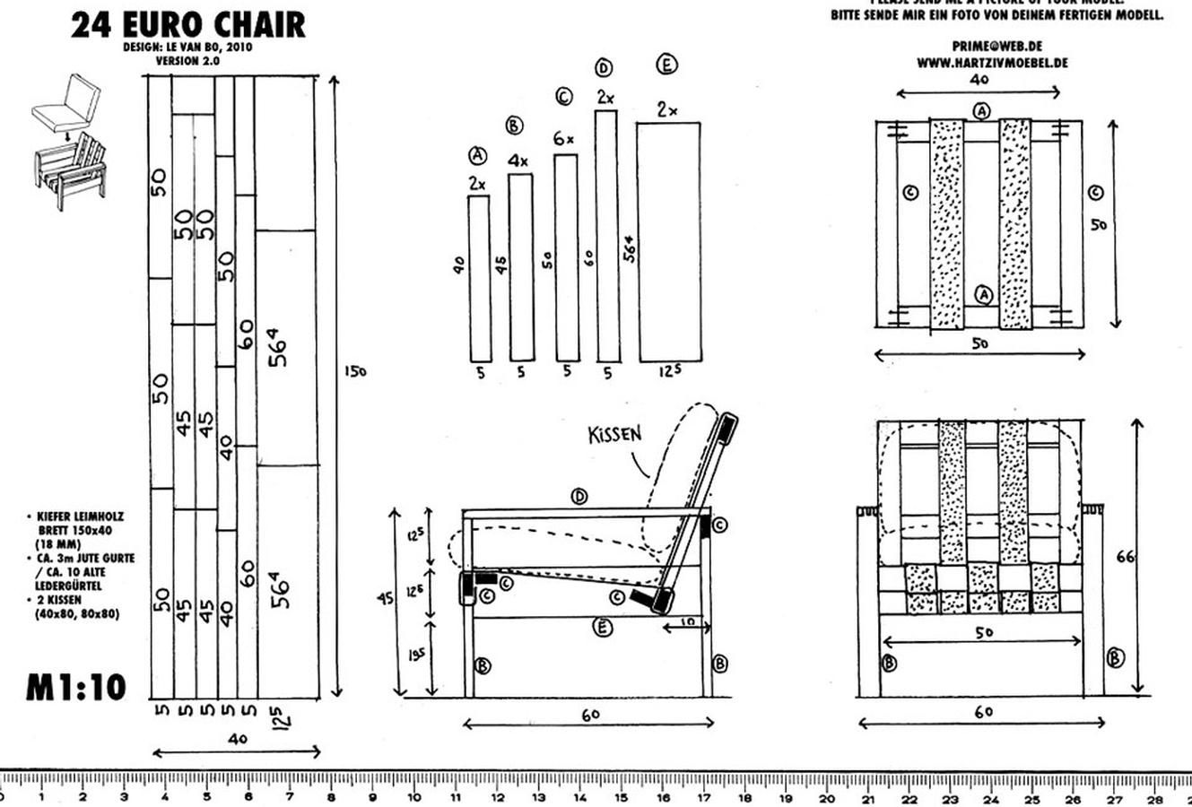 sessel 24 euro chair drawings and assembly instructions for diy furniture by van bo le