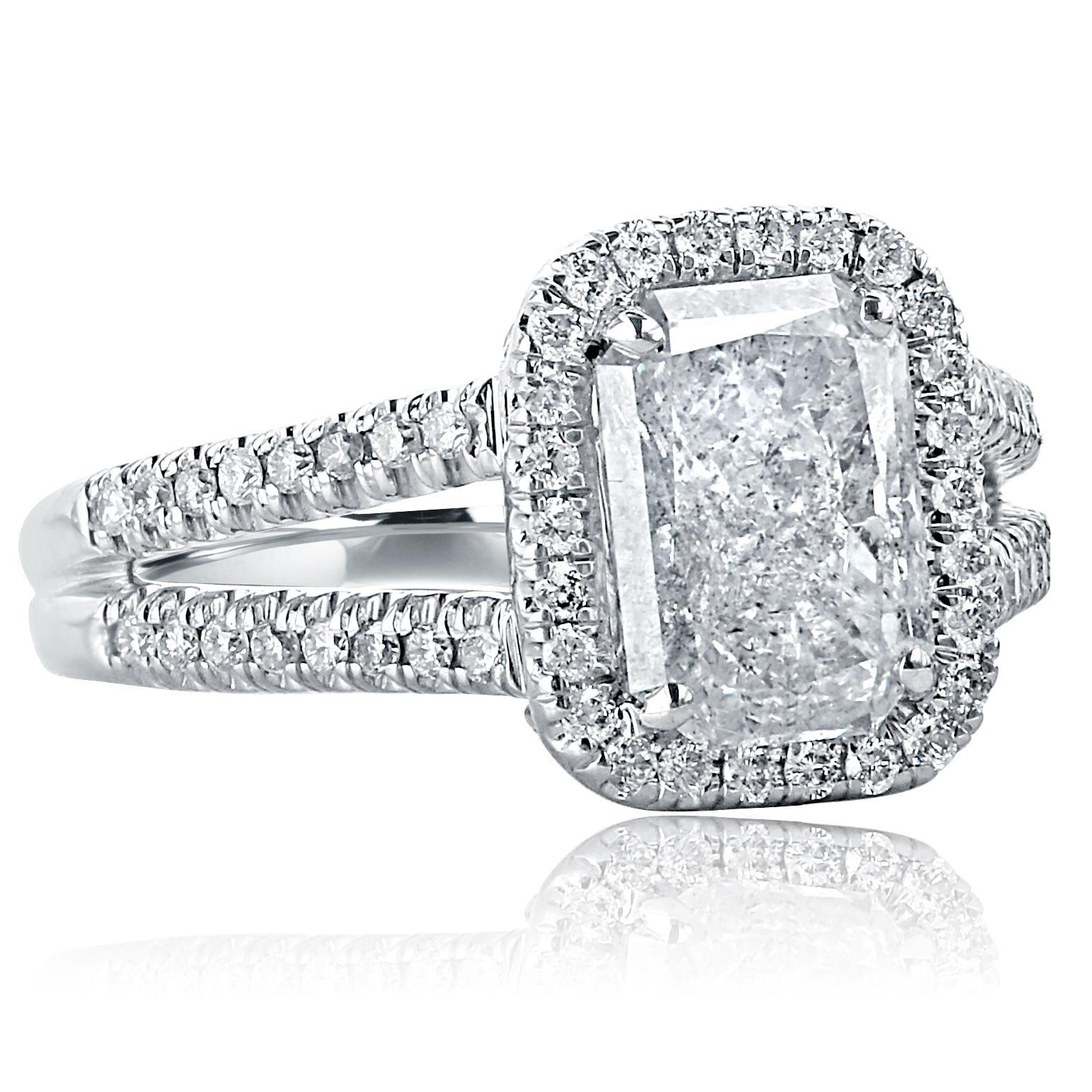 ct radiant cut engagement ring halo diamond engagement ring