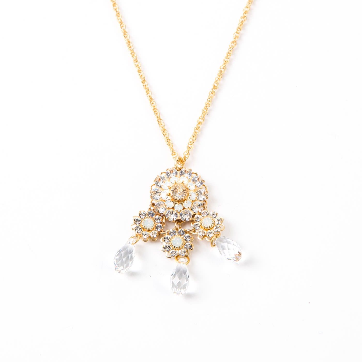 White flower chandelier necklace flower chandelier flower and gems white flower chandelier necklace arubaitofo Images