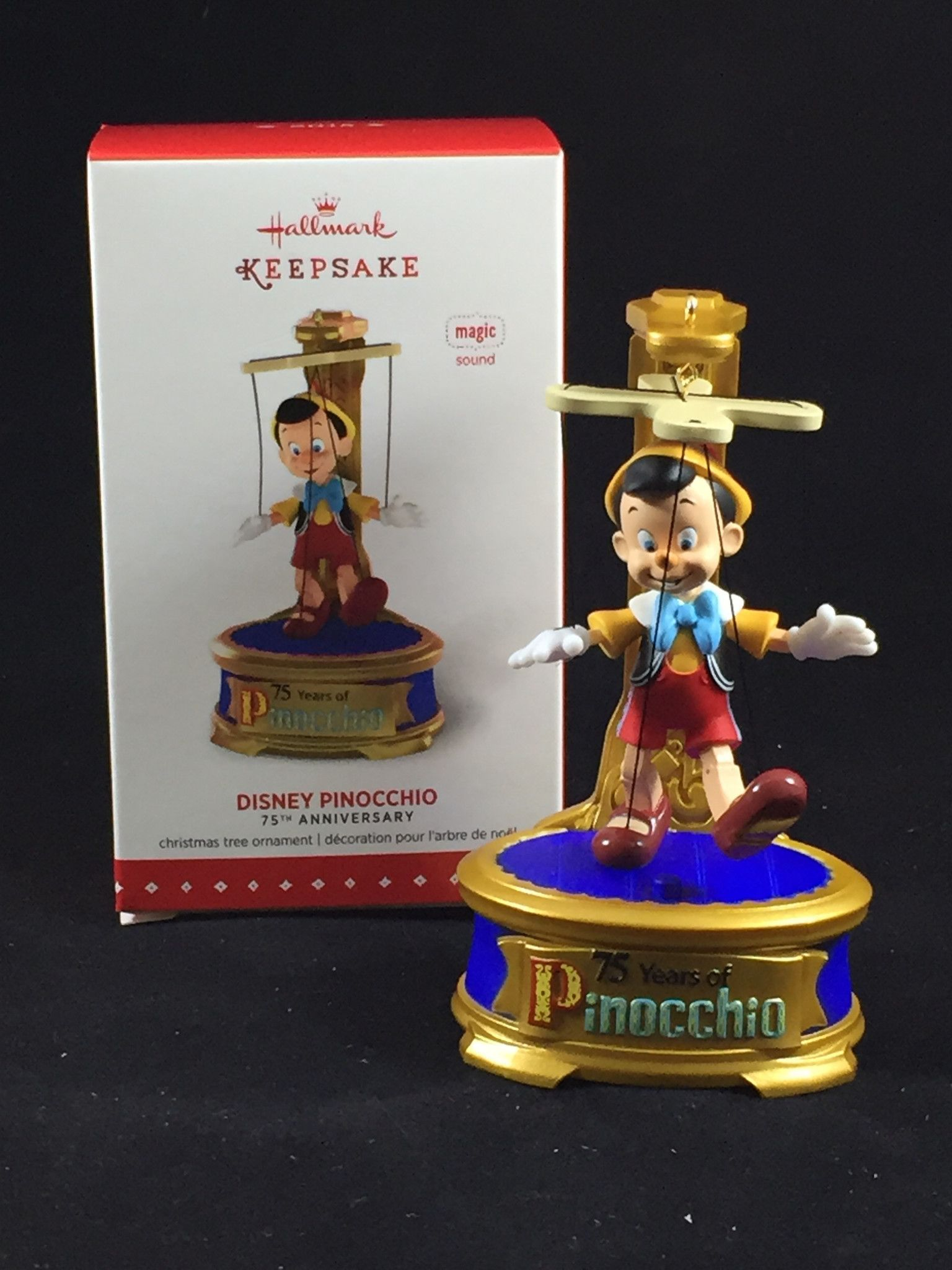 Pinocchio 75th Anniversary Hallmark Ornament | Pinocchio, Ornament ...