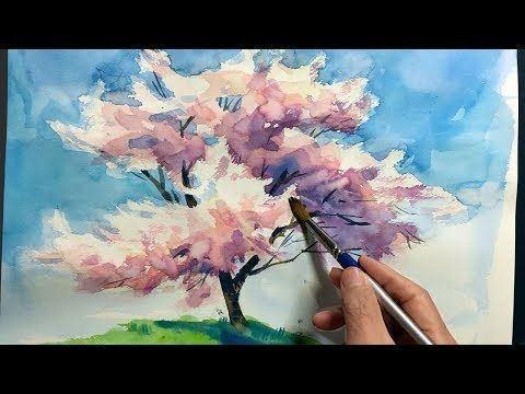 Eng Sub Watercolor Tree Painting Easy Tutorial 4 Cherry Blossom