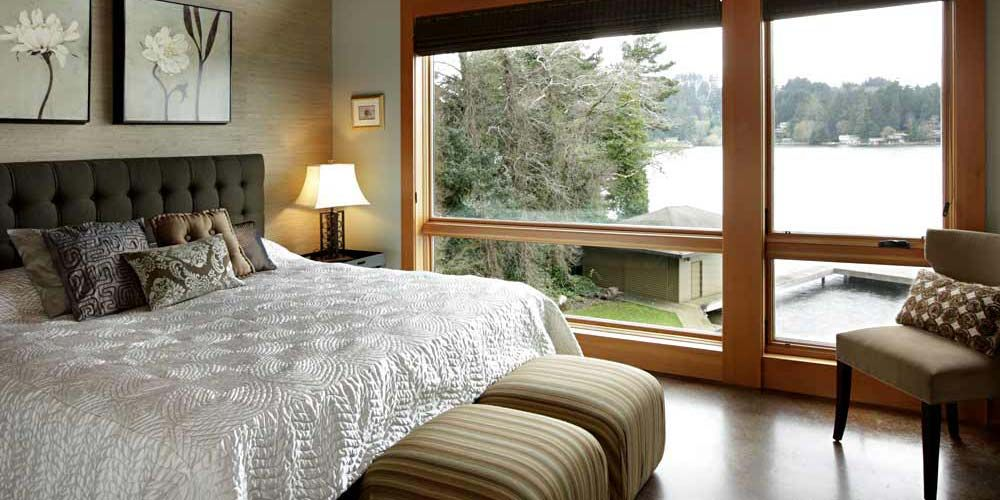 Exterior Lake House Bedroom Interior Design With Simple Furniture And  Accessories Plus Lake View From Large Glass Door A Romantic Lake House