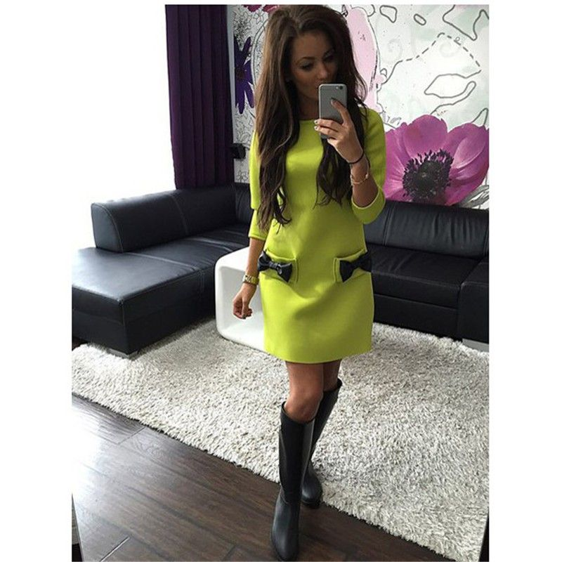 Winter Straight Plus Size Mini Dress New Arrival Women Pockets Bow