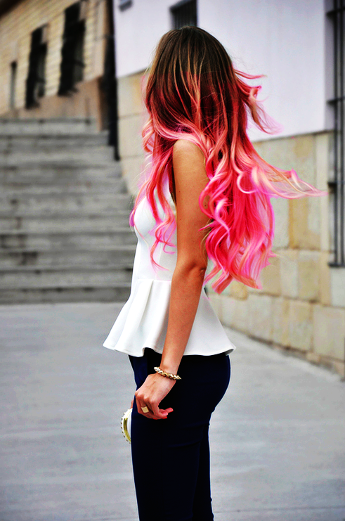 Curly Pink And Black Ombre Hair Extensions Pink And Black Ombre