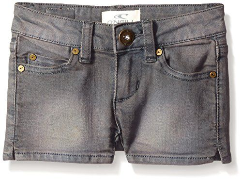 O'Neill Big Girls' Monique Denim Shorts, Grey, 10. 2 inch. 5-pocket styling.