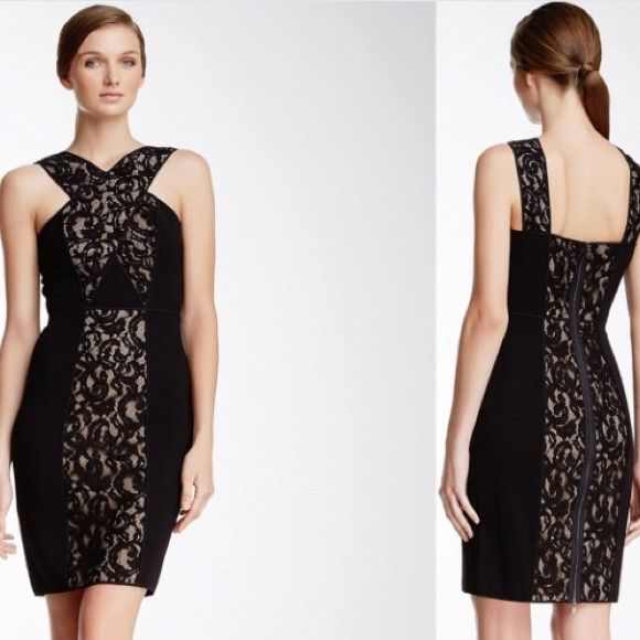 Black lace with tan underlay dress