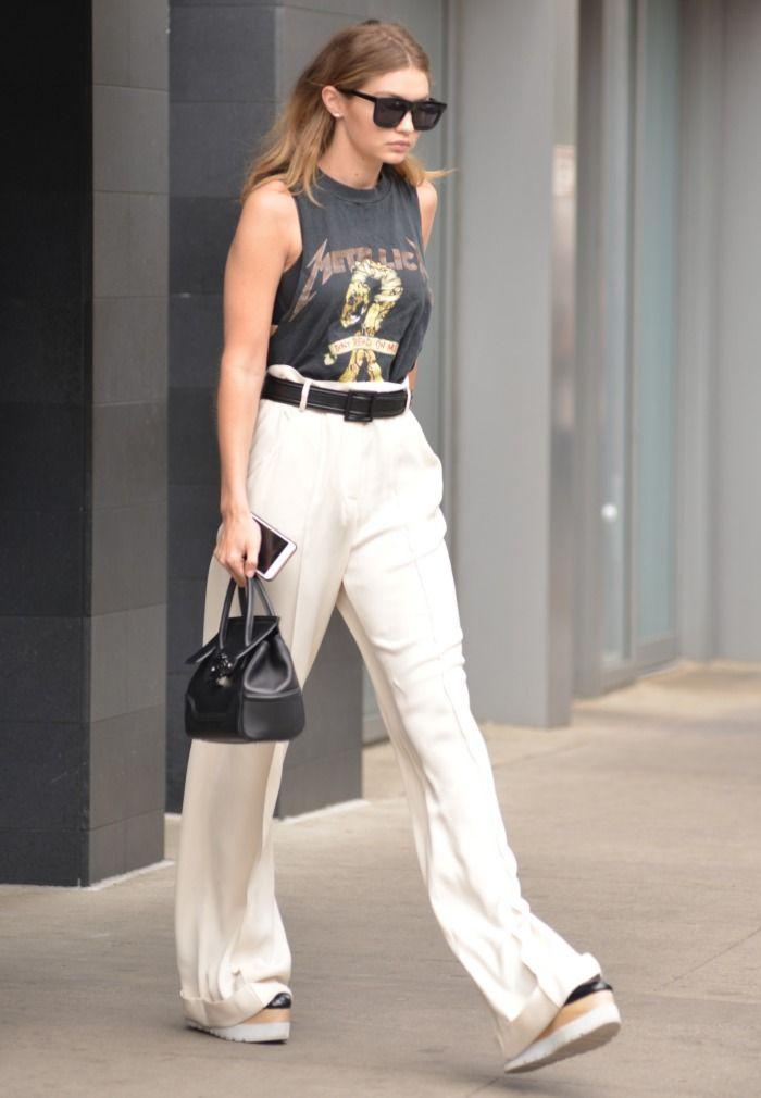 7b57bff9320a4 Gigi Hadid wears Stella McCartney platforms out in Manhattan on May ...