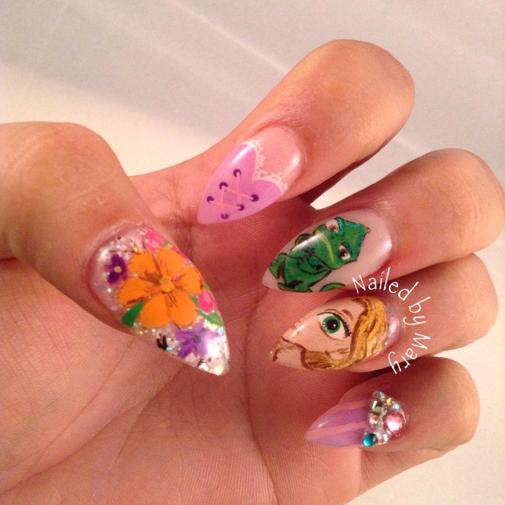 Disney tangled Rapunzel stilettos nails | Nailed by Mary ...