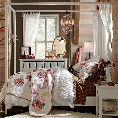 pink and purple girls bedroom ideas | bedroom-theme-canopy-bed | Dream Home and Garden