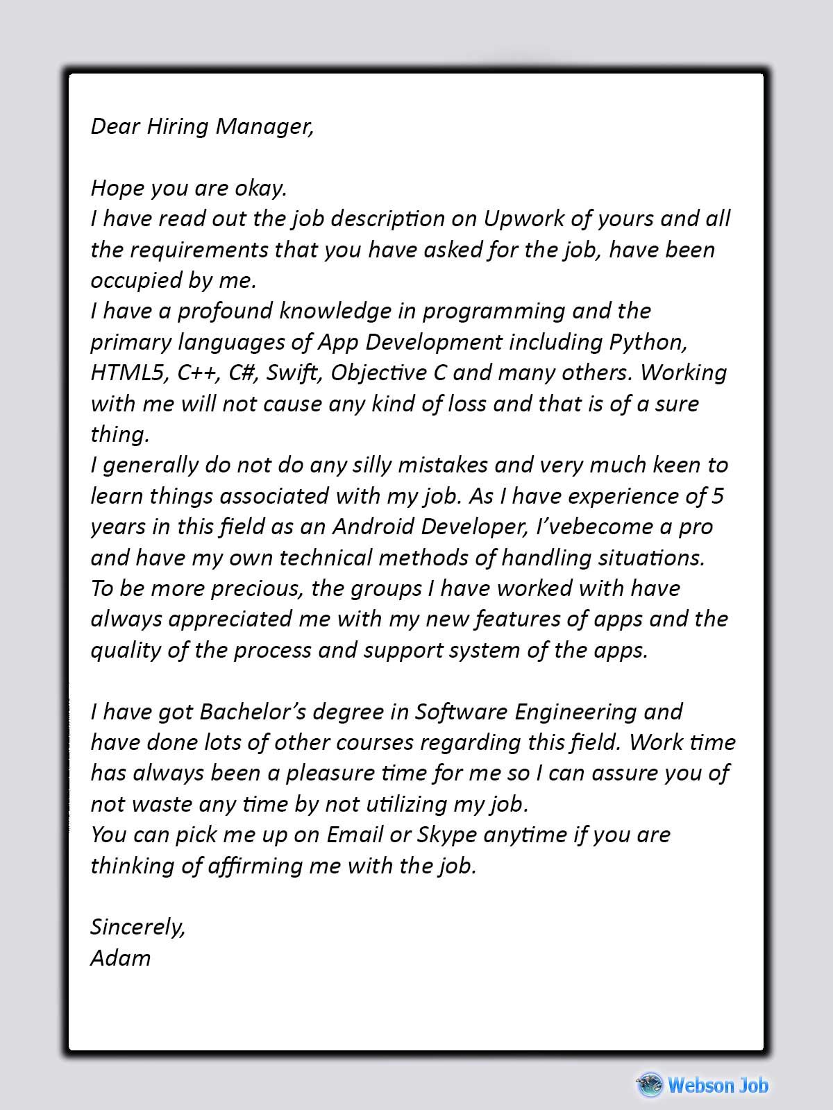 Upwork Proposal Sample For Android Developer 2020 Proposal Sample Writing A Cover Letter Development