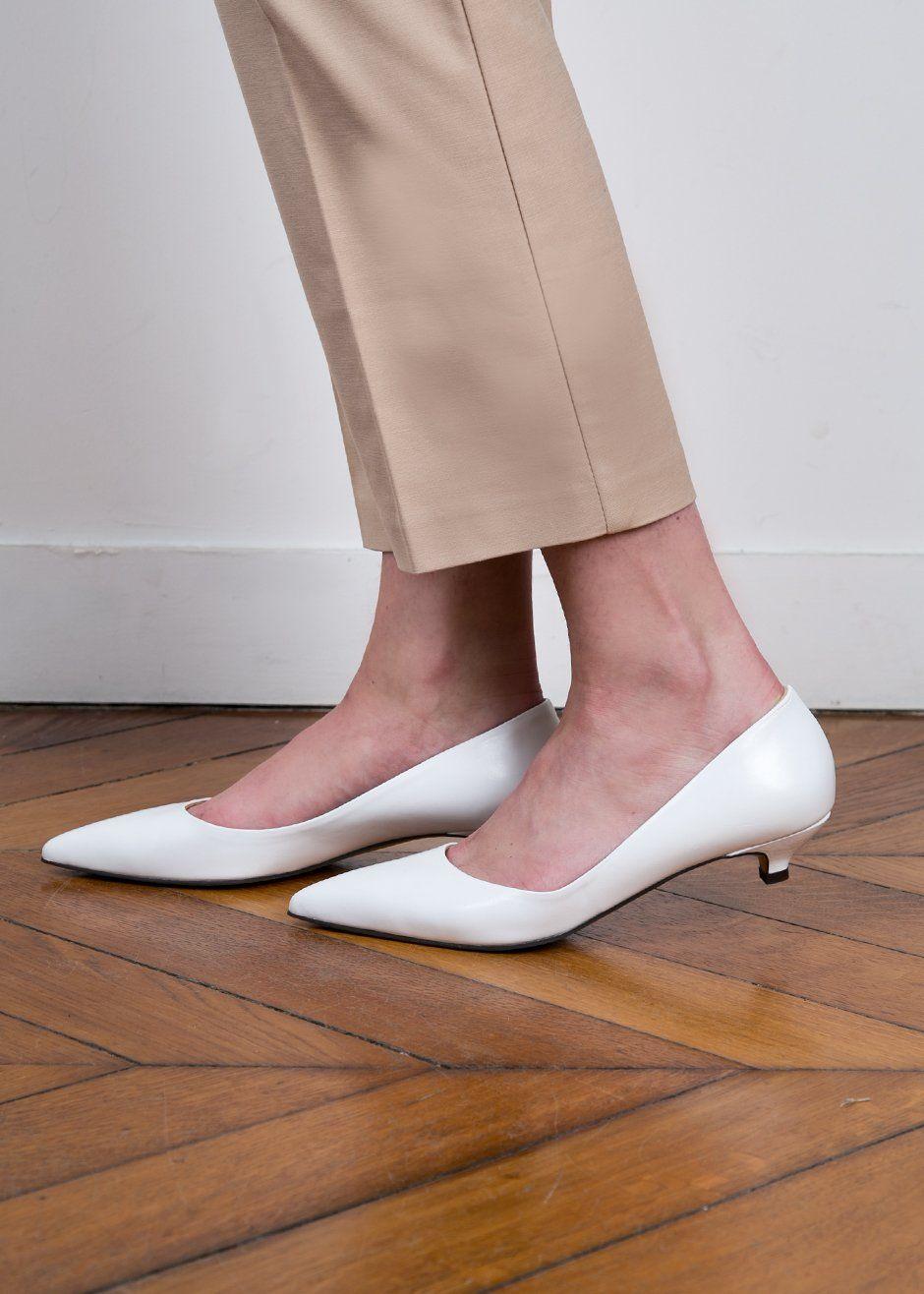 Kitten Heel White Pointy Shoes