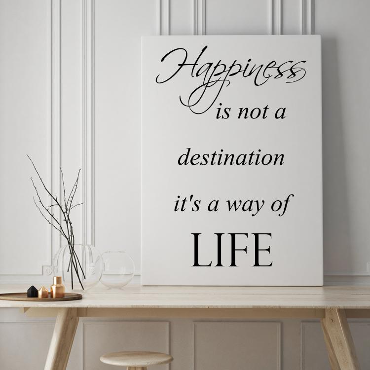 tekst op canvas - happiness   woonkamer teksten   pinterest, Deco ideeën