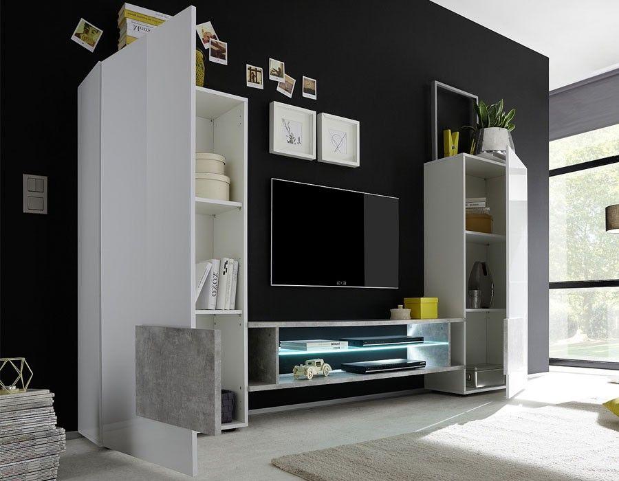 Ensemble meuble TV design laqué blanc et noir TRIVIA 3