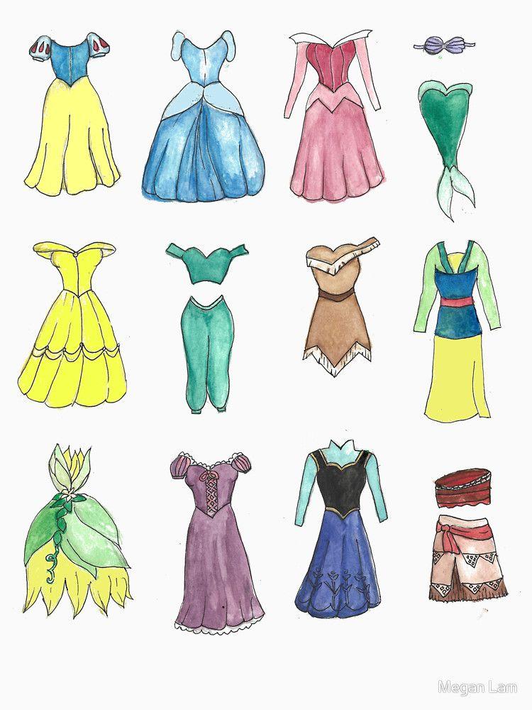 Princess Dresses T Shirt By Megan Lam Girly Drawings Disney
