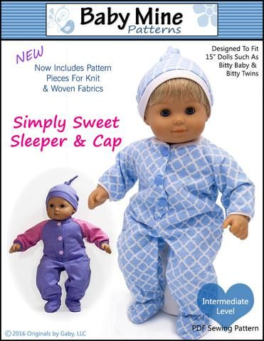 Simply Sweet Sleeper And Cap 15 Baby Doll Clothes Pattern Baby Doll Clothes Patterns Baby Doll Clothes Bitty Baby Clothes