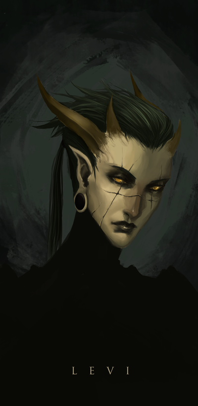 Levi by Banished-shadow tiefling demon devil armor clothes