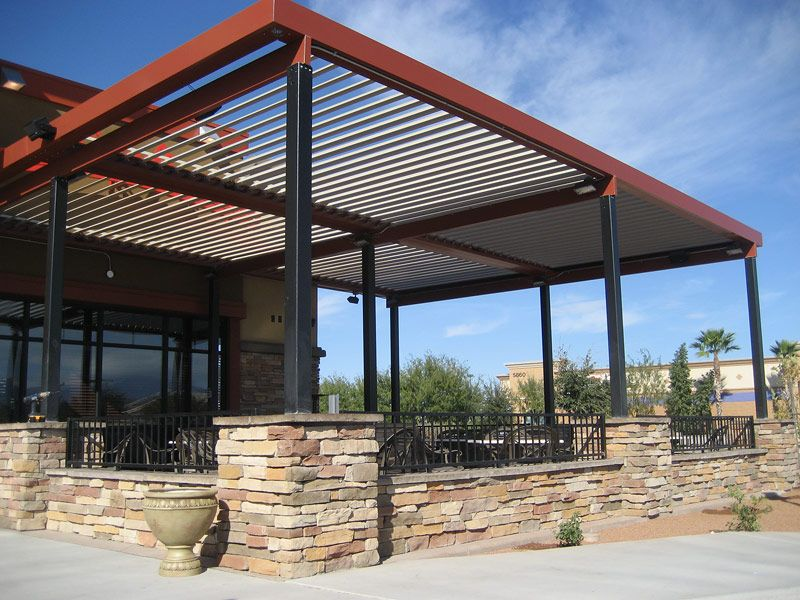 commercial aluminum louvered-roof