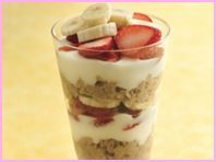 Berry 'Nana Oatmeal Parfait from Hungry Girl (cook a bunch of oatmeal and have this a couple days in a row)-could very up the berries and other fruit.