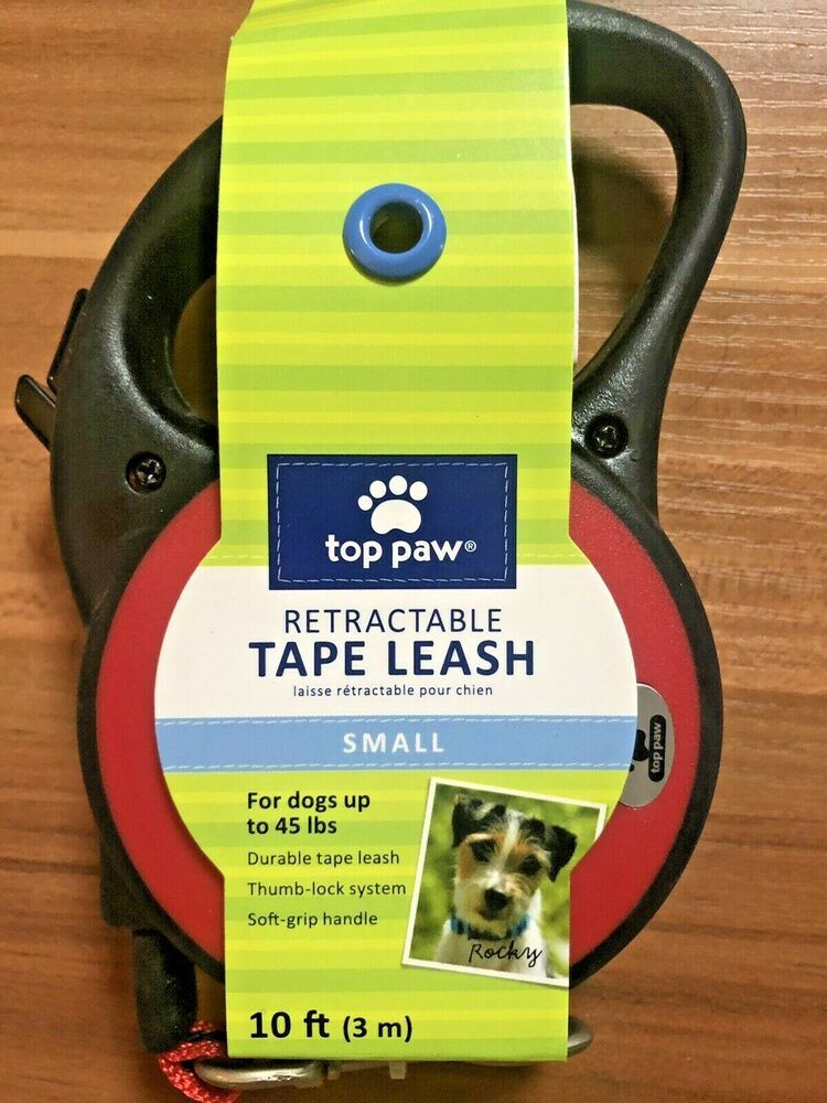 Top Paw 10 Feet Retractable Leash For Dogs Red Small Pets Up To 45