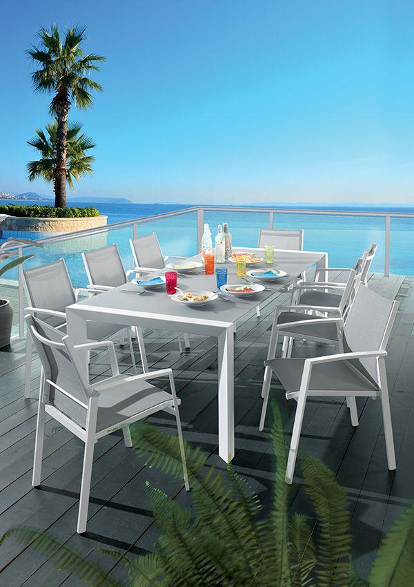 Salon de jardin CUARTU Structure aluminium laqué blanc Table ...