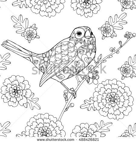 Singing Bird Patterned Nightingale With Marigold Flowers